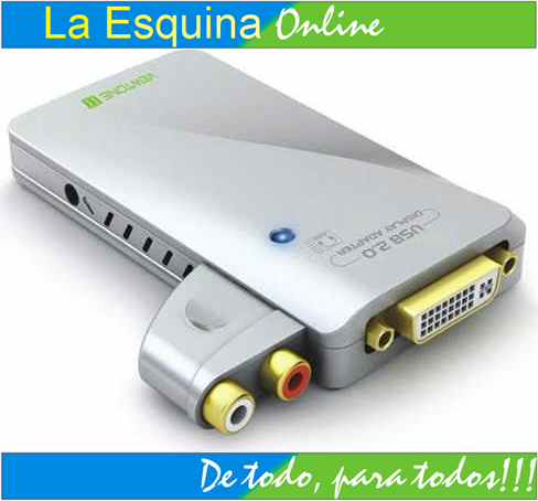 Adaptador tarjeta de video y audio externo USB DVI / VGA / HDMI.