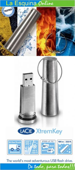 Memoria USB de 64GB Indestructible marca LaCie.
